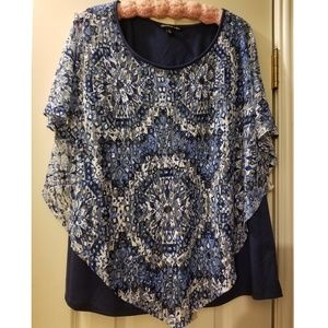 Ladies lace overlay short sleeve blouse